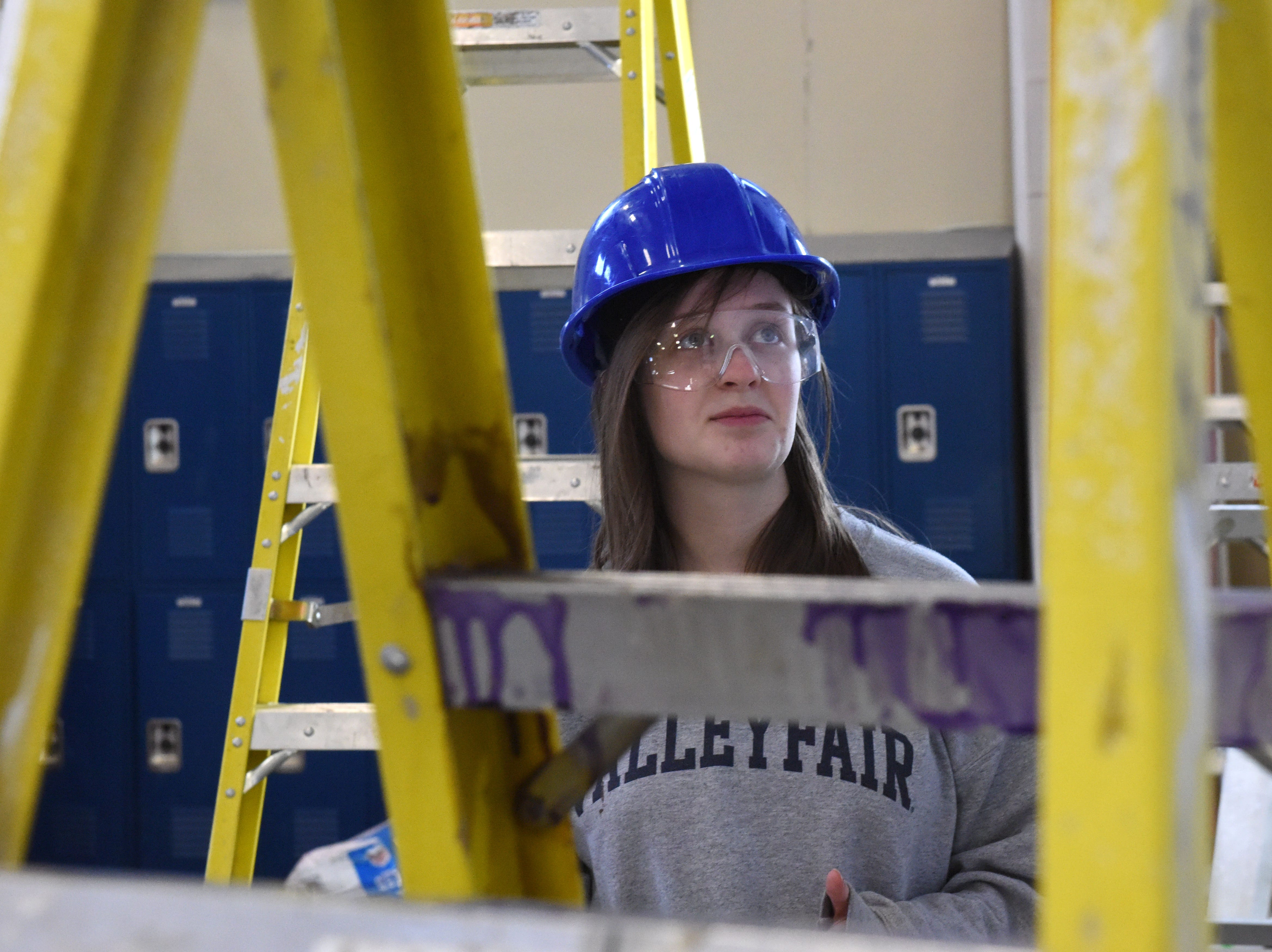 Josie Wahl participates in carpentry class at Career and Technical Education Academy, Monday, Jan. 7, 2019 in Sioux Falls, S.D.