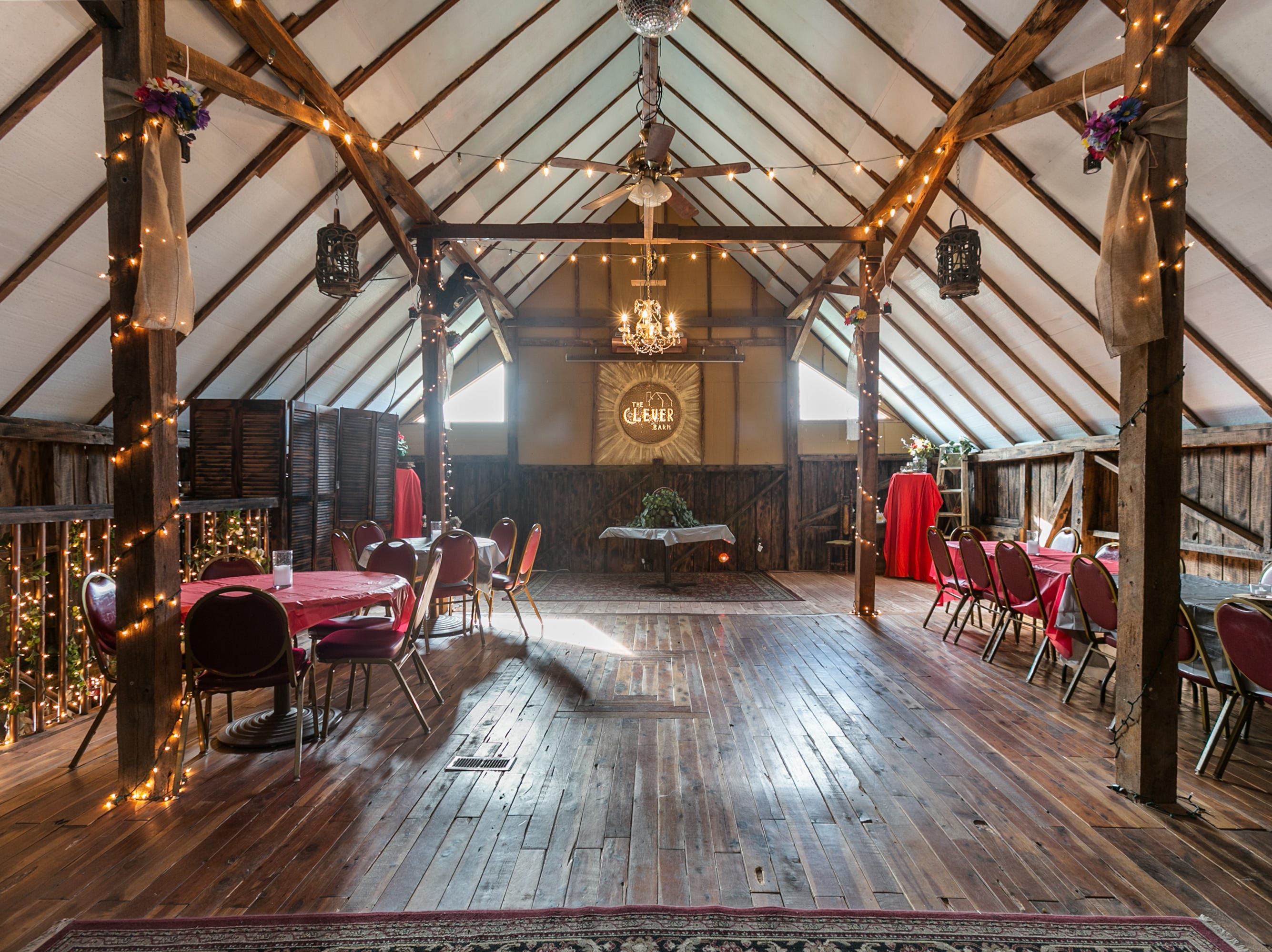 The upstairs event area features a large pull-down screen with projection, a sound system, dance floor and opens onto a large deck overlooking the countryside. The space also is handicap accessible.