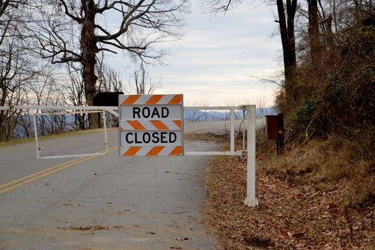 The Blue Ridge Parkway photographed as closed on Jan. 7, 2019. Downed trees and other conditions caused the parkway to close after an ice storm in November, but then the Federal Government shutdown on Dec. 22, 2018 affected the clean-up efforts keeping the road closed to the public at the entrance outside of Waynesboro near the Shenandoah National Park.