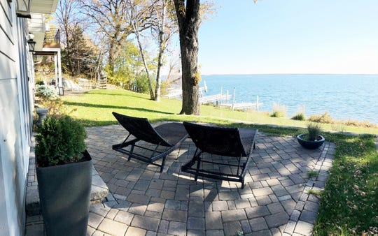 The property features 110 feet of shoreline.