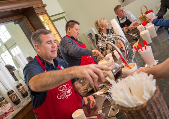 St. George Mayor Jon Pike, left, joins city council members Jimmie Hughes, Bette Arial and Joe Bowcutt to serve up root beer floats during the city's annual birthday celebration at the historic St. George Social Hall, 47 E. 200 North. The event returns this year from noon to 2 p.m. on Jan. 12.