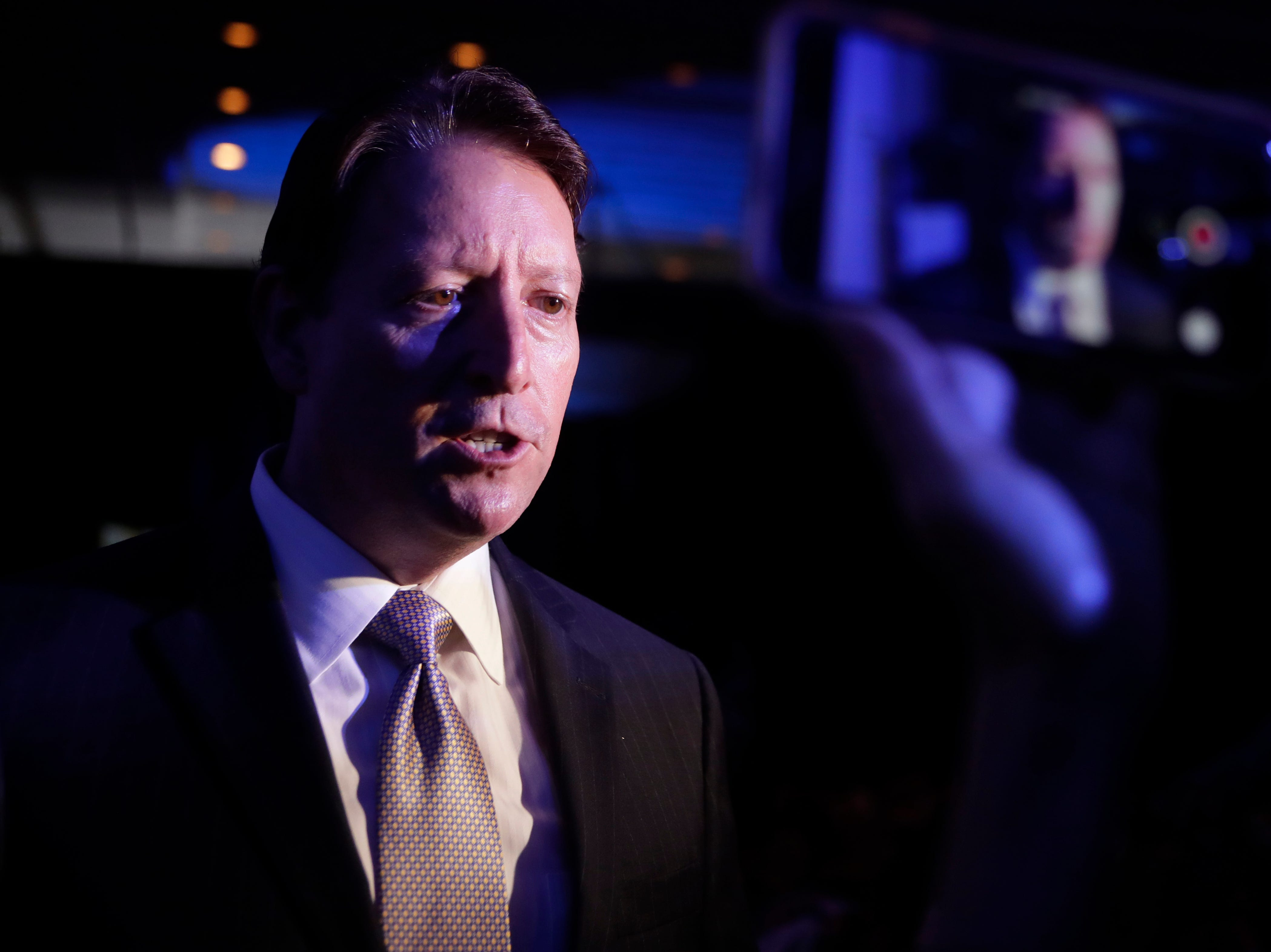 Senate President Bill Galvano is interviewed by the press during the Bold Vision for a Bright Future: Thought Leaders Luncheon in the University Center Club at Florida State University Monday, Jan. 7, 2019.