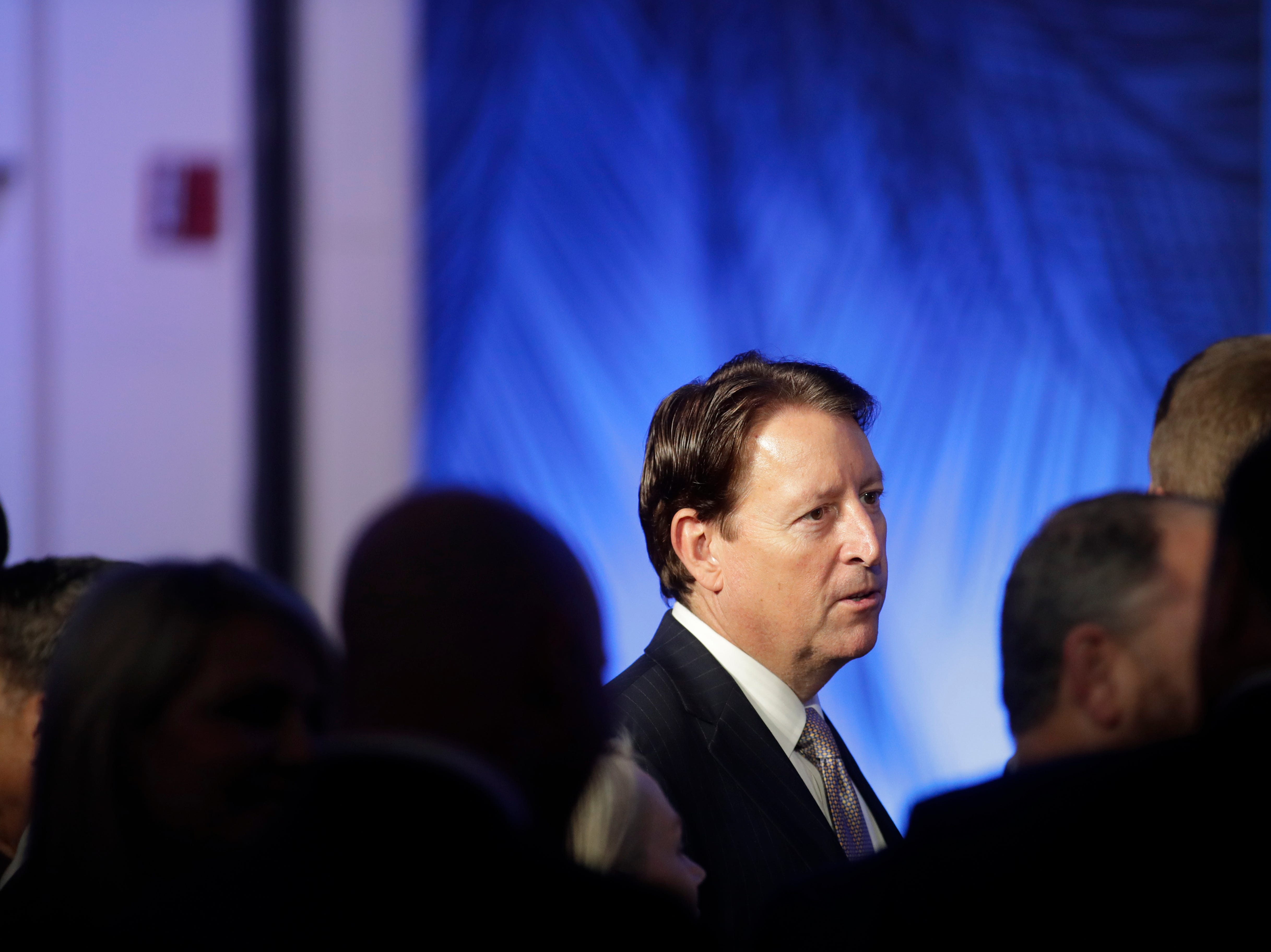 Senate President Bill Galvano talks with other guests during the Bold Vision for a Bright Future: Thought Leaders Luncheon in the University Center Club at Florida State University Monday, Jan. 7, 2019.