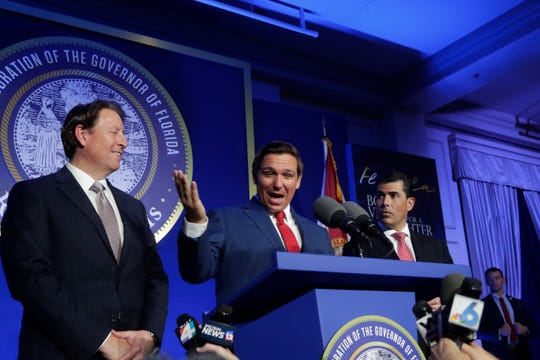 Gov. Ron DeSantis speaks to the press after the Bold Vision for a Bright Future: Thought Leaders Luncheon in the University Center Club at Florida State University Monday, Jan. 7, 2019.