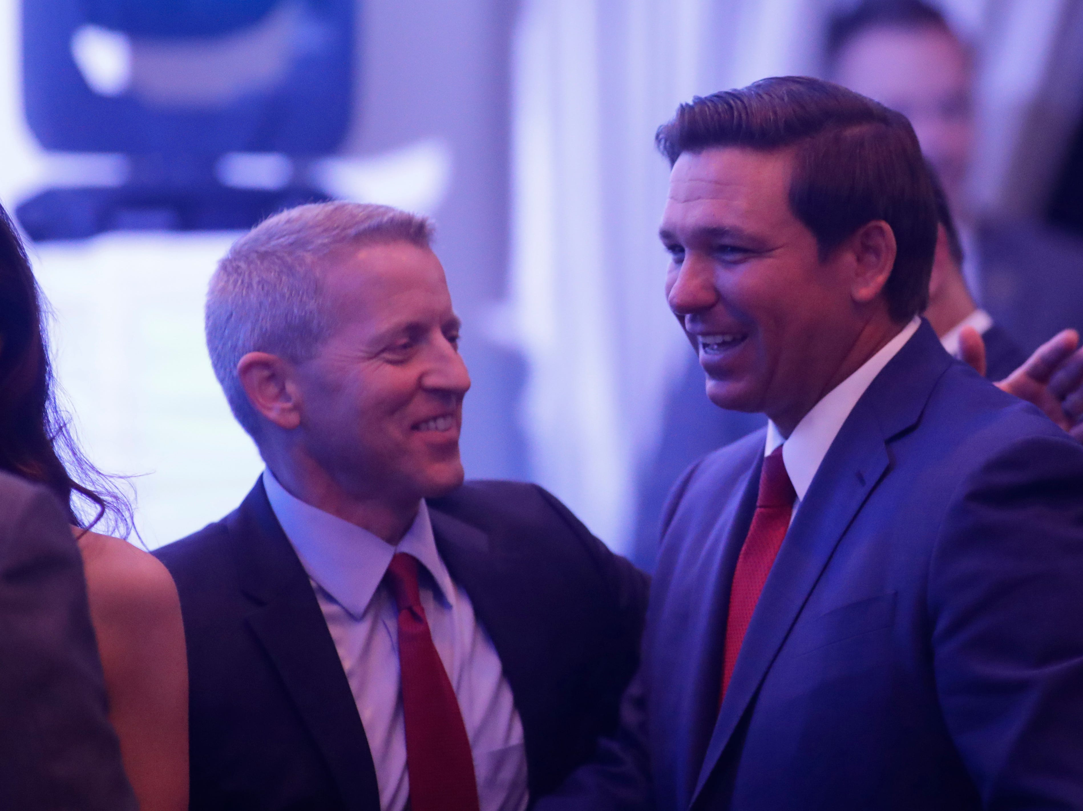 Gov. Ron DeSantis greets guests during the Bold Vision for a Bright Future: Thought Leaders Luncheon in the University Center Club at Florida State University Monday, Jan. 7, 2019.