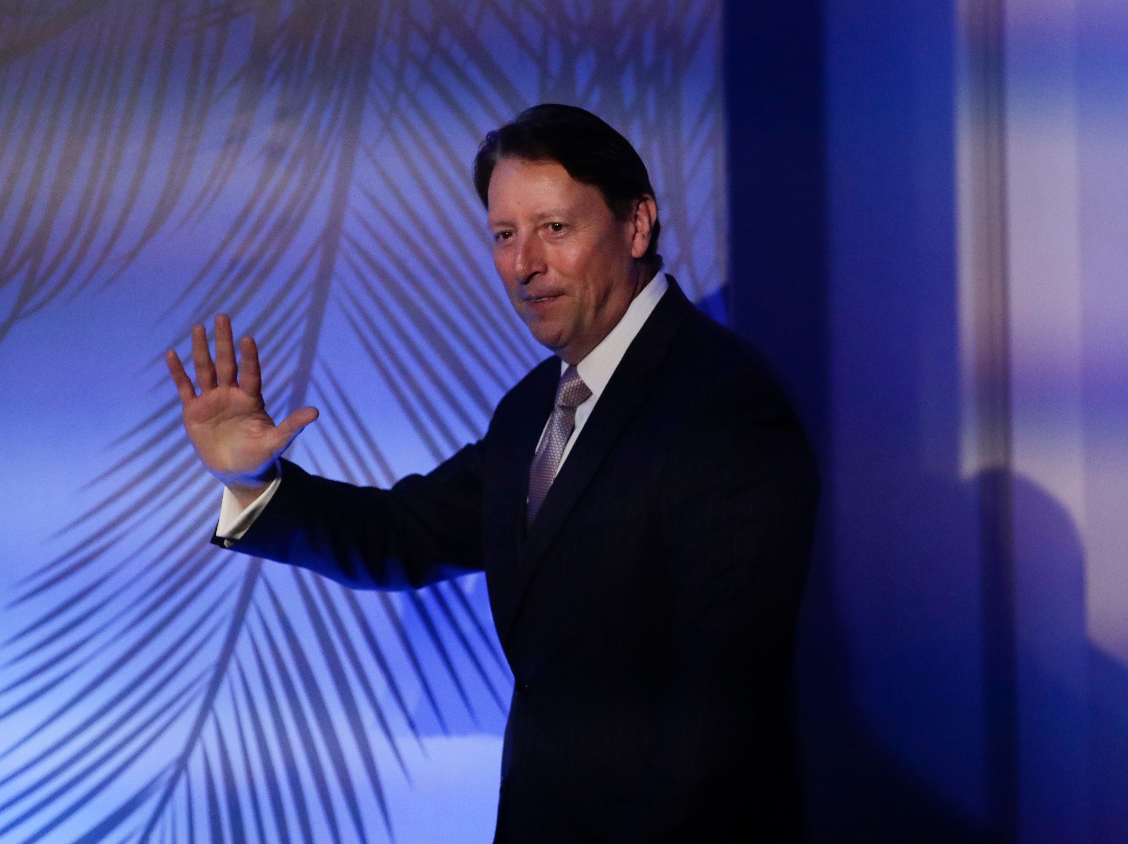 Senate President Bill Galvano takes the stage during the Bold Vision for a Bright Future: Thought Leaders Luncheon in the University Center Club at Florida State University Monday, Jan. 7, 2019.