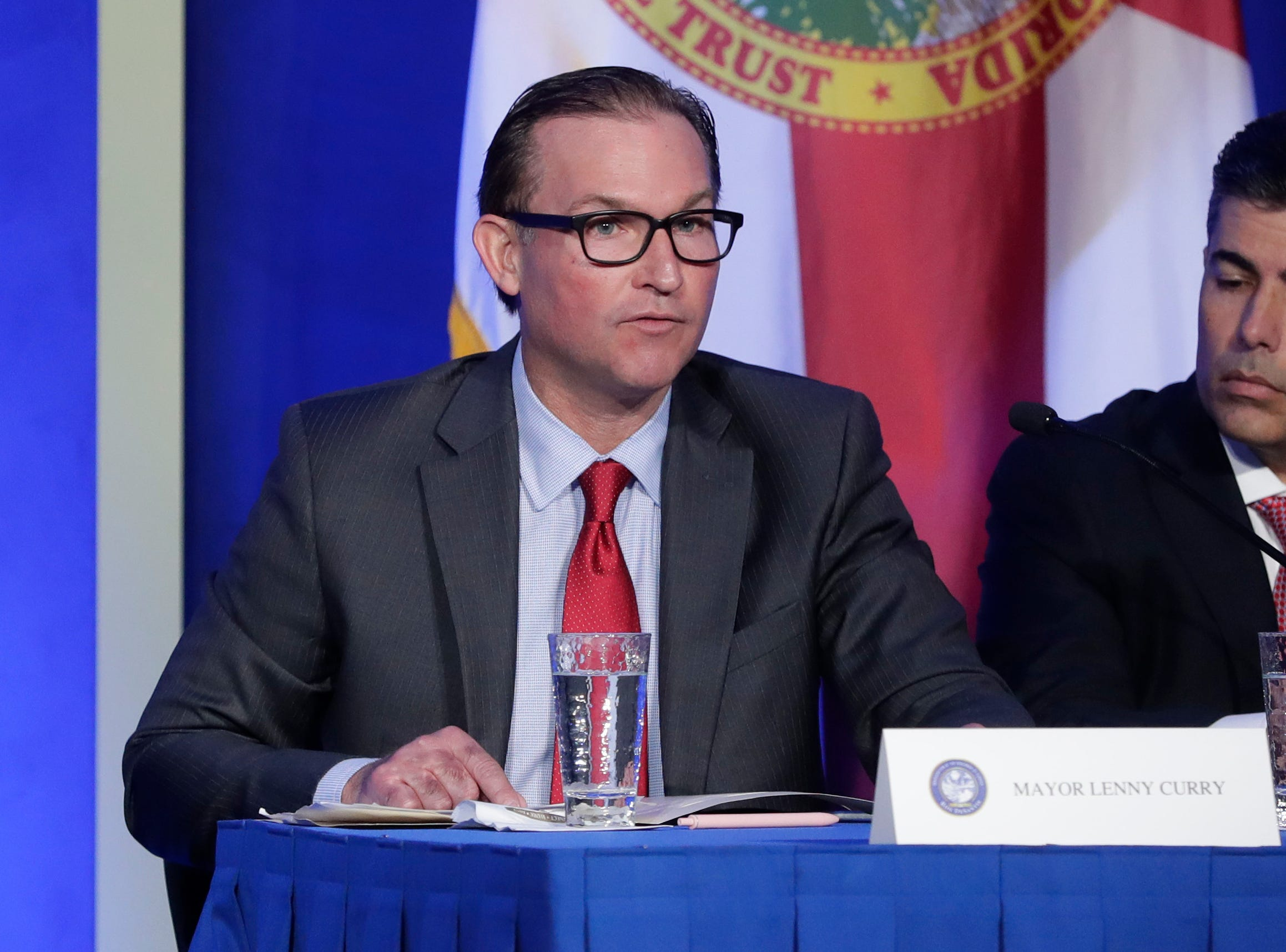 Mayor of Jacksonville Lenny Curry speaks during the Bold Vision for a Bright Future: Thought Leaders Luncheon in the University Center Club at Florida State University Monday, Jan. 7, 2019.