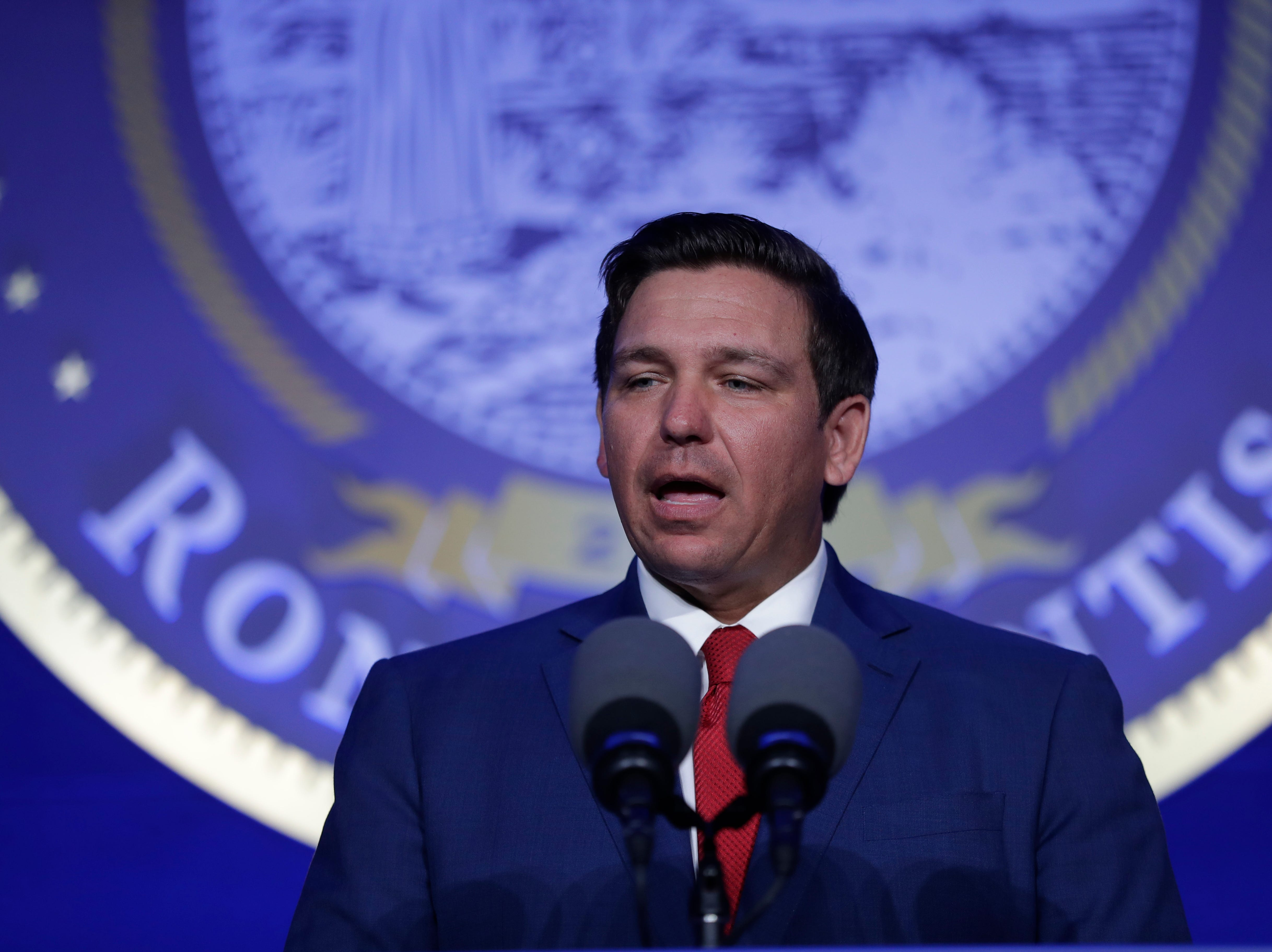 Gov. Ron DeSantis speaks during the Bold Vision for a Bright Future: Thought Leaders Luncheon in the University Center Club at Florida State University Monday, Jan. 7, 2019.