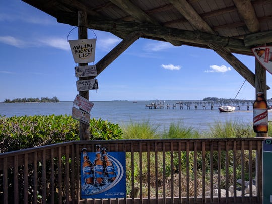 Great views of the lagoon are offered from the Tiki Bar and Grill in Sebastian.
