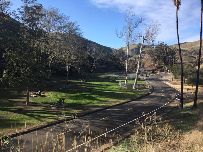 Looking down into Arroyo Verde Park in Ventura.