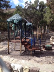 This playground burned in the Thomas Fire. Now, the city wants community input on what the rebuilt playground should look like.