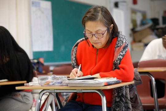 Sophia Ng of New City goes over some notes during a social studies class at the Rockland BOCES for Adult Education in Nyack on Jan. 7, 2019.