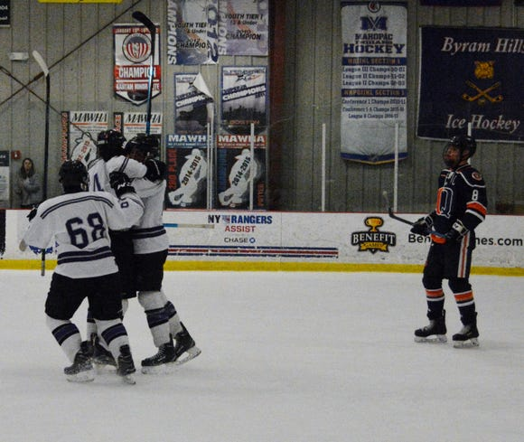 John Jay celebrates a Will Hasapis goal on Sunday during a 5-2 win over previously undefeated Greeley at Brewster Ice Arena.