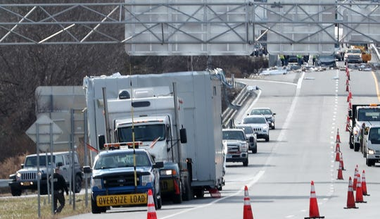 The truck that hit an overpass on northbound I-684 at the I-84 interchange in the town of Southeast sits on the side of the road on Jan. 7, 2019.