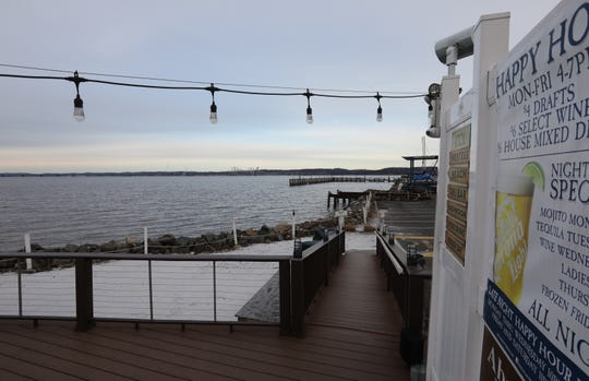 River view from the beach and deck at Pier 701 in Piermont..