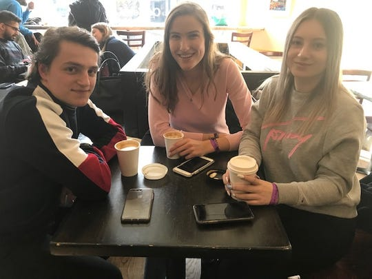 Isar VanHunnaik, Anna Haasnoot and Jolien Theijbers just arrived from Holland and plan to  watch the Tappan Zee bridge explosion from a Tarrytown park.