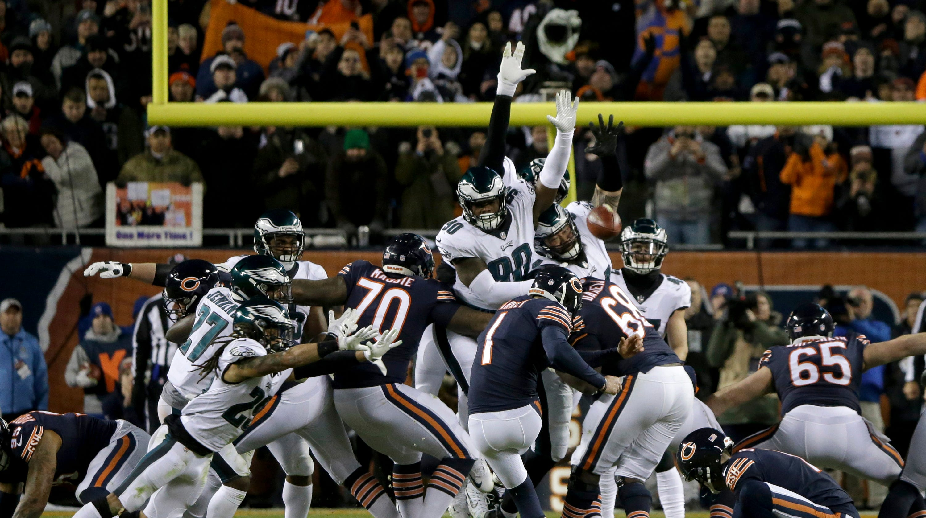 Image result for eagles bears blocked field goal