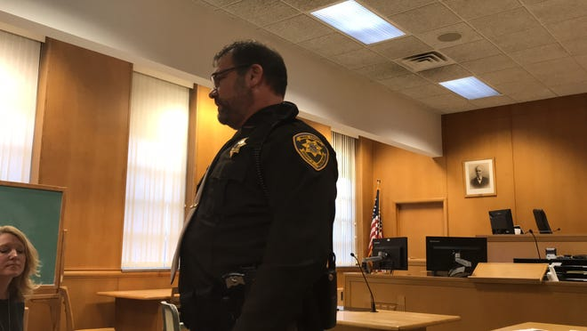 New Wood County Sheriff Shawn Becker speaks to friends, family and colleagues after taking the oath of office Monday afternoon.