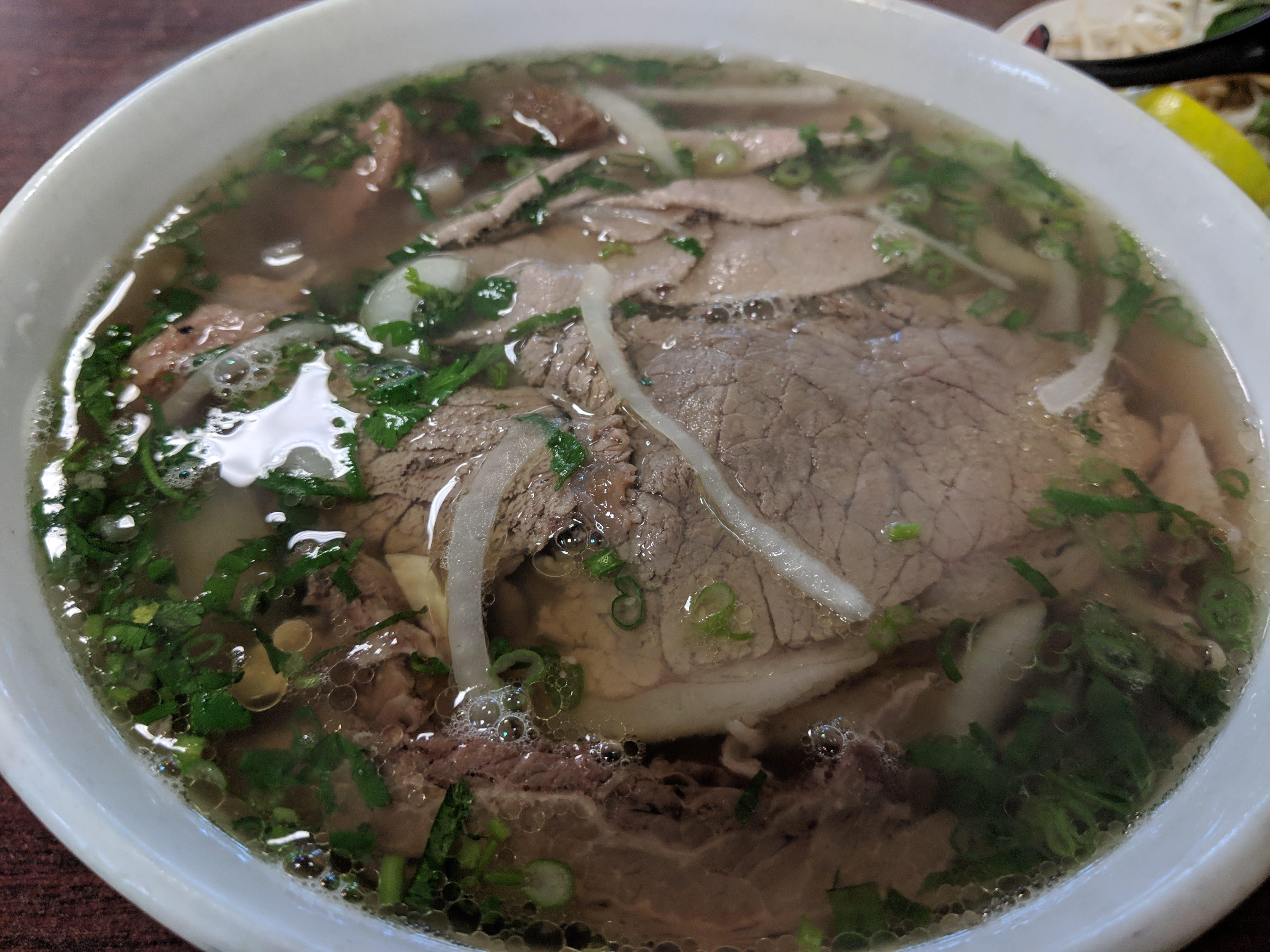 The Pho Dac Biet (combination noodle soup) at I Love Pho.