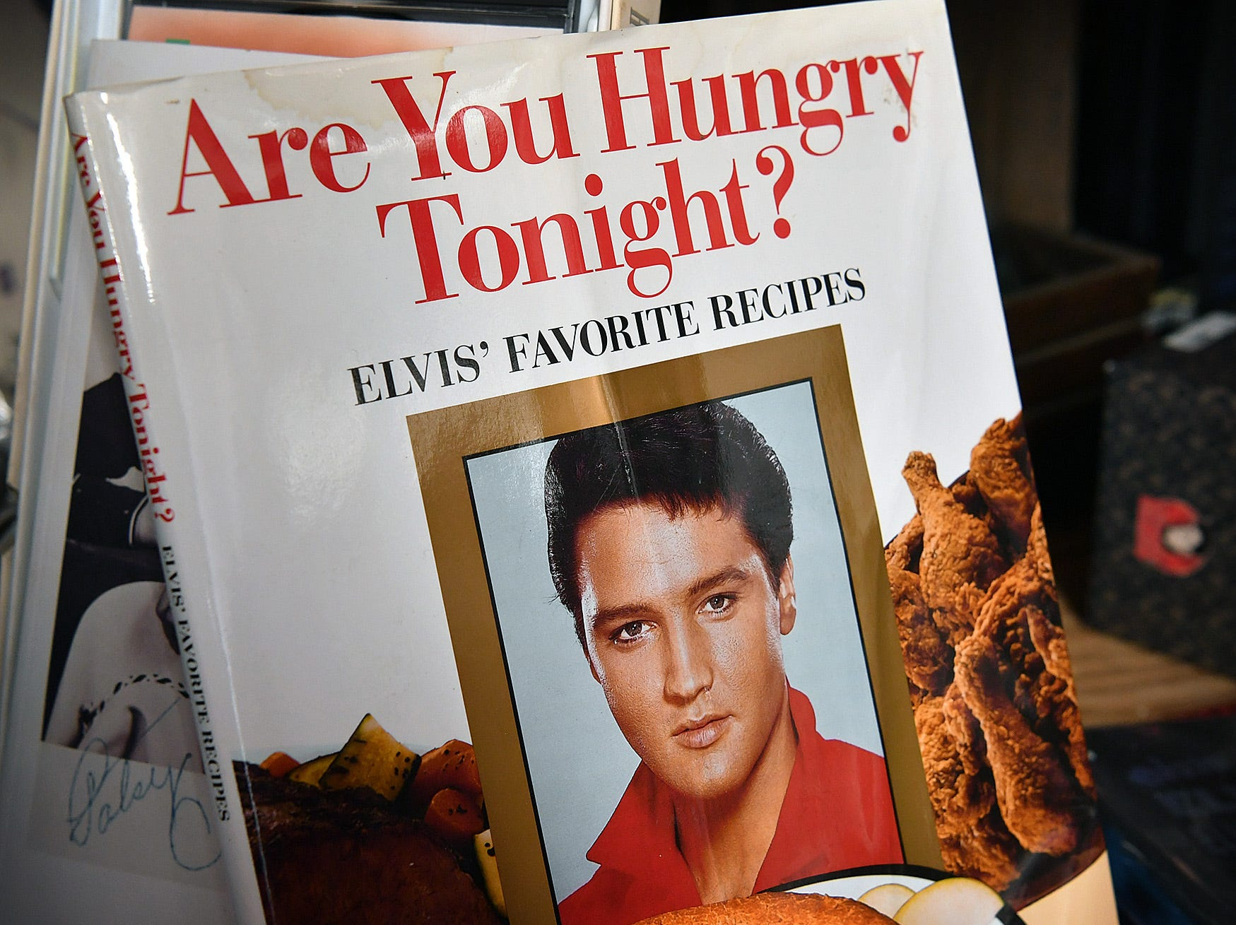 A cookbook of Elvis Presley's favorite recipes is one of thousands of items at the Elvis Always Gifts and Collectibles store.