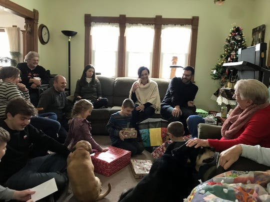 A filled living room for a late family Christmas on Sunnybook Farm.