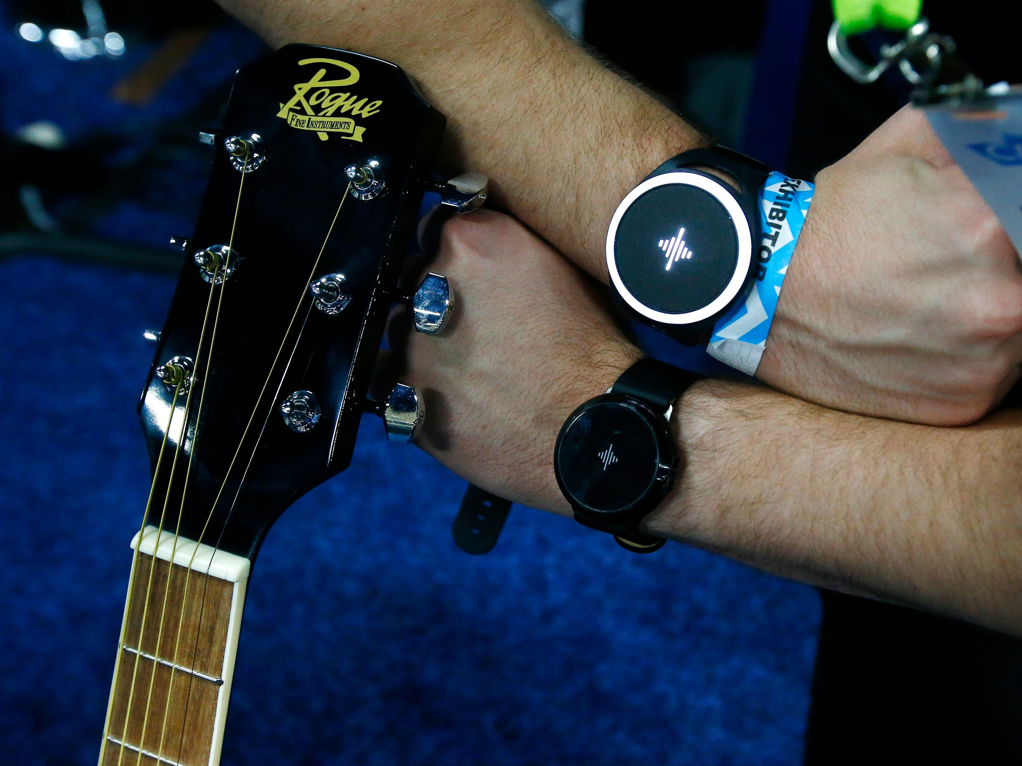 The Soundbrenner Pulse, the top version is a vibrating metronome, with the newer model also being a watch and a guitar tuner.