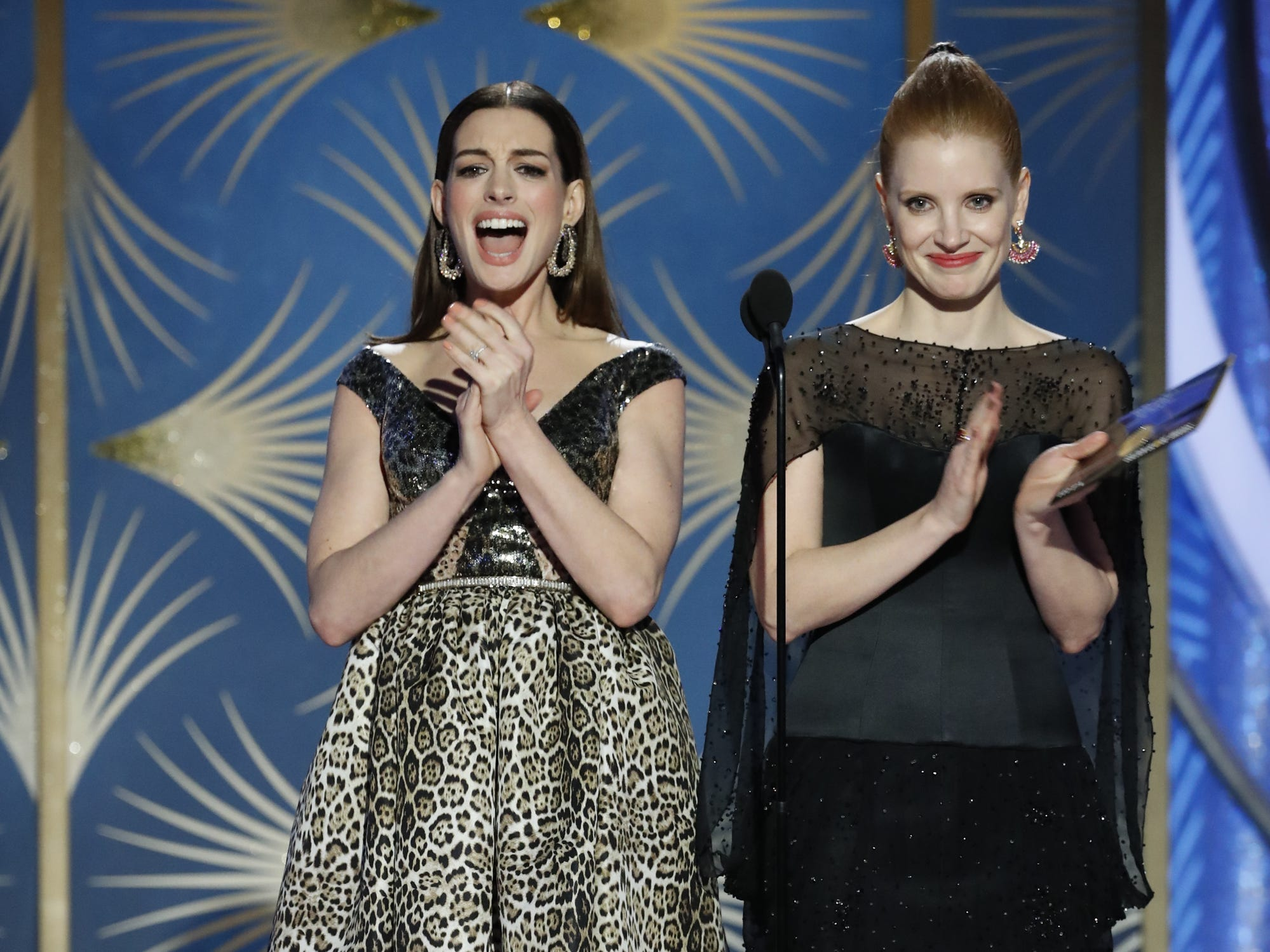 Anne Hathaway and Jessica Chastain present during the 76th Golden Globe Awards.