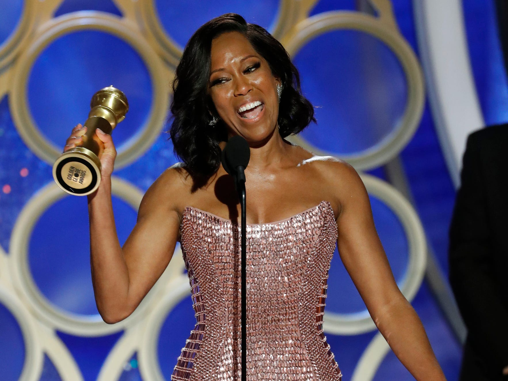 Regina King accepts the award for Best Supporting Actress - Motion Picture during the 76th Golden Globe Awards.