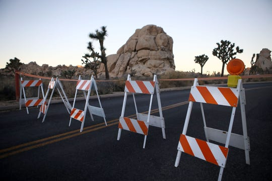 Barricades block a closed campground at Joshua Tree National Park on Jan. 4, 2019 in Joshua Tree National Park, Calif. Campgrounds and some roads have been closed at the park due to safety concerns as the park is drastically understaffed during the partial government shutdown.