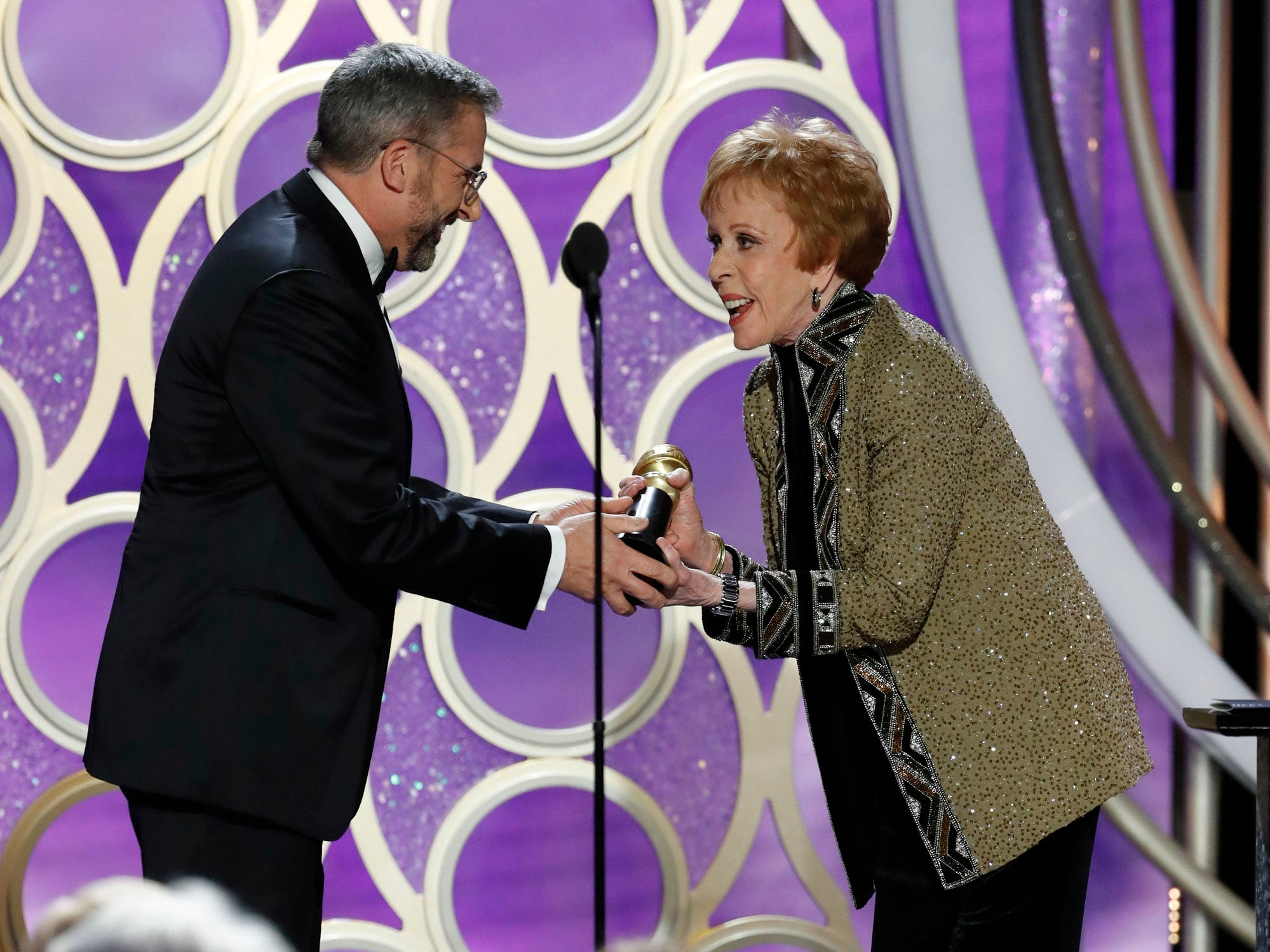 Steve Carell presents Carol Burnett with the  Carol Burnett TV Achievement Award during the 76th Golden Globe Awards.