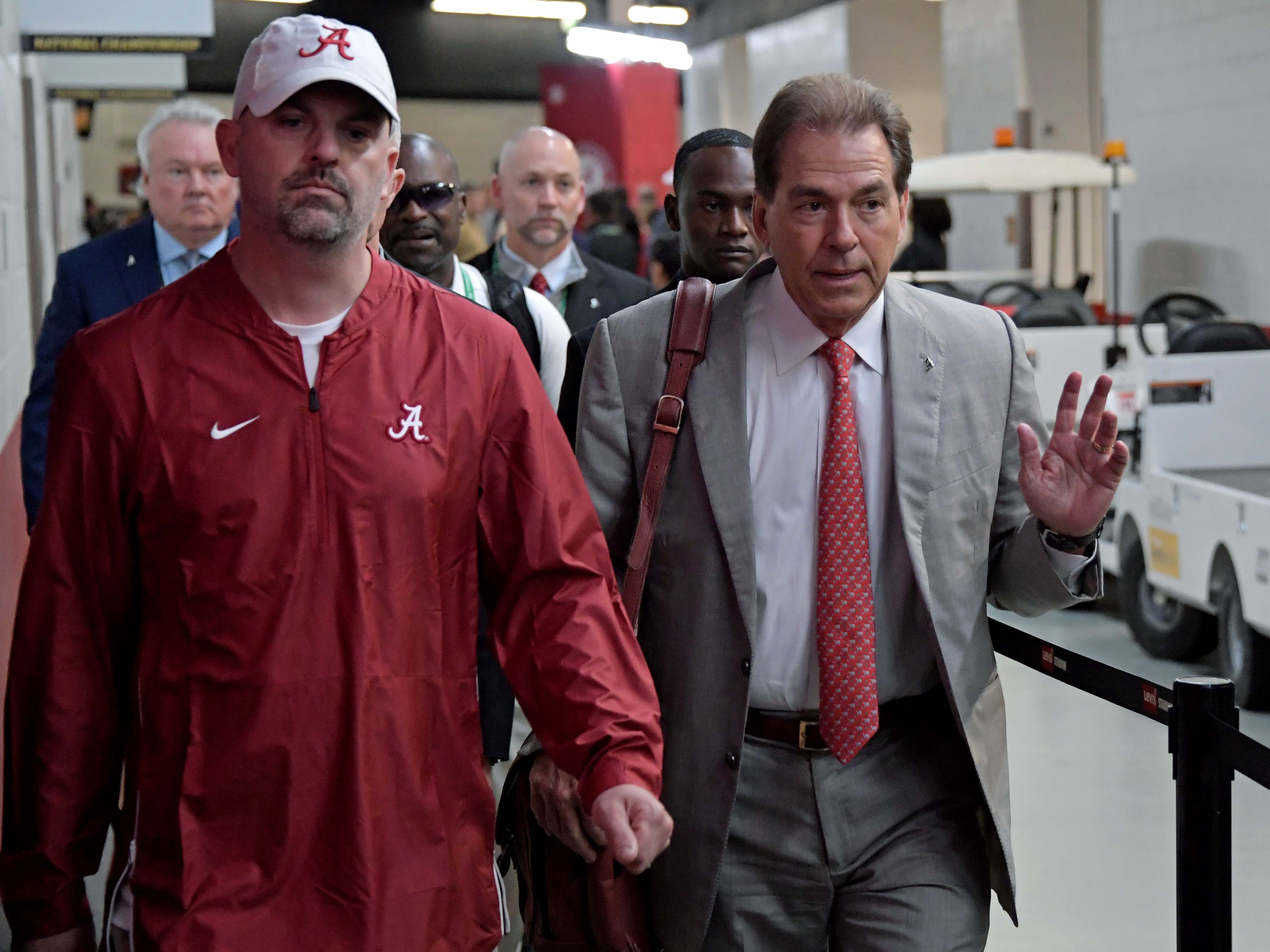 Alabama Crimson Tide head coach Nick Saban walks to the locker room before the 2019 College Football Playoff Championship game against the Clemson Tigers at Levi's Stadium.