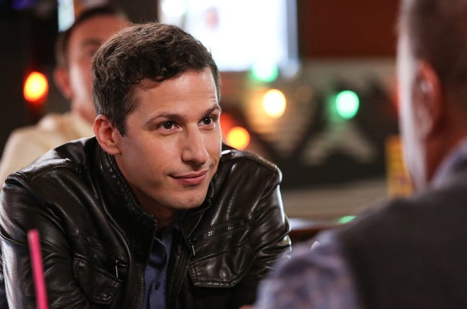 Detective Jake Peralta (Andy Samberg), seen in this exclusive photo, and his police companions are back on the beat when 'Brooklyn Nine-Nine' moves to NBC on Thursday.