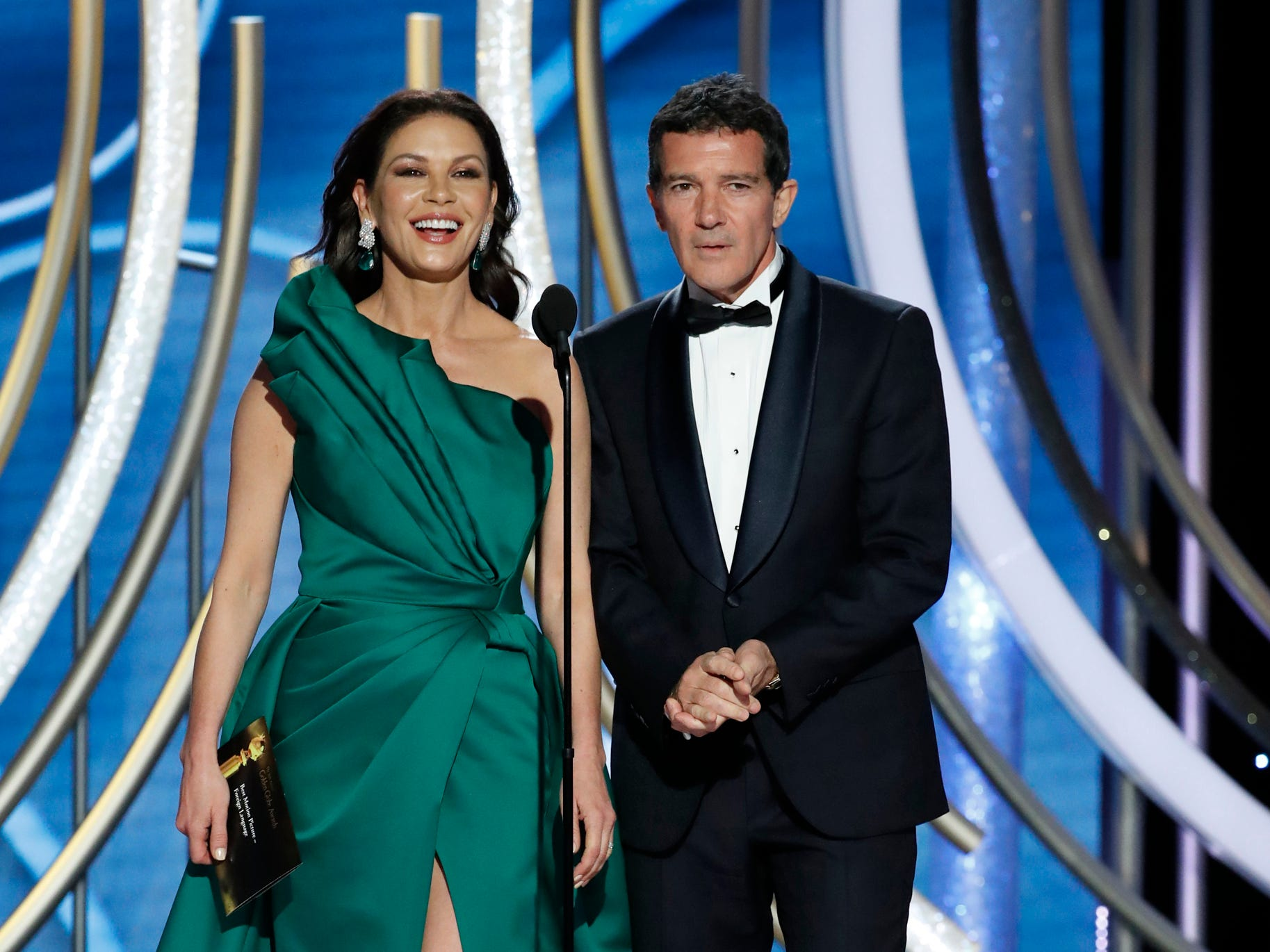 Catherine Zeta-Jones and Antonio Banderas present during the 76th Golden Globe Awards.