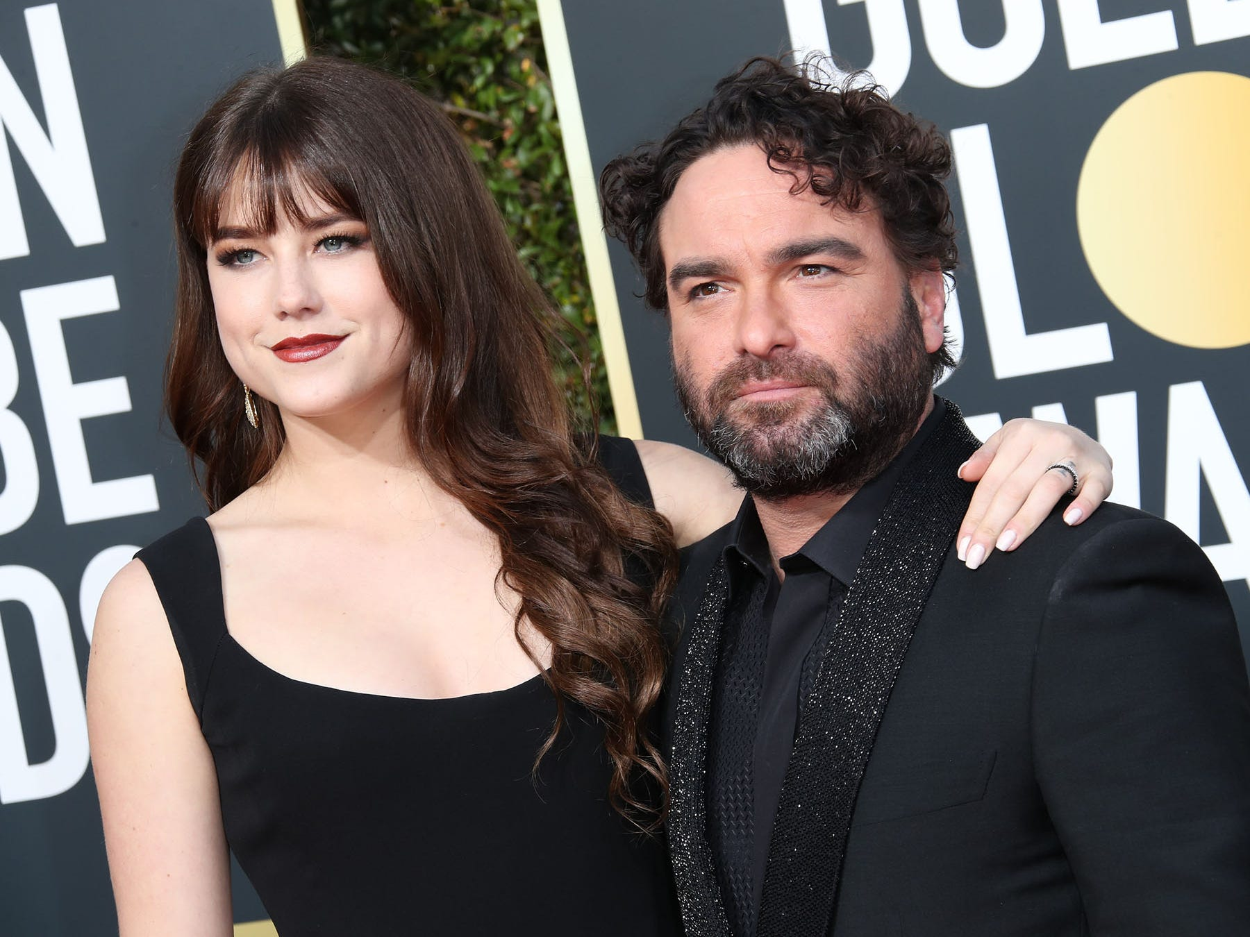 Alaina Meyer, left and Johnny Galecki