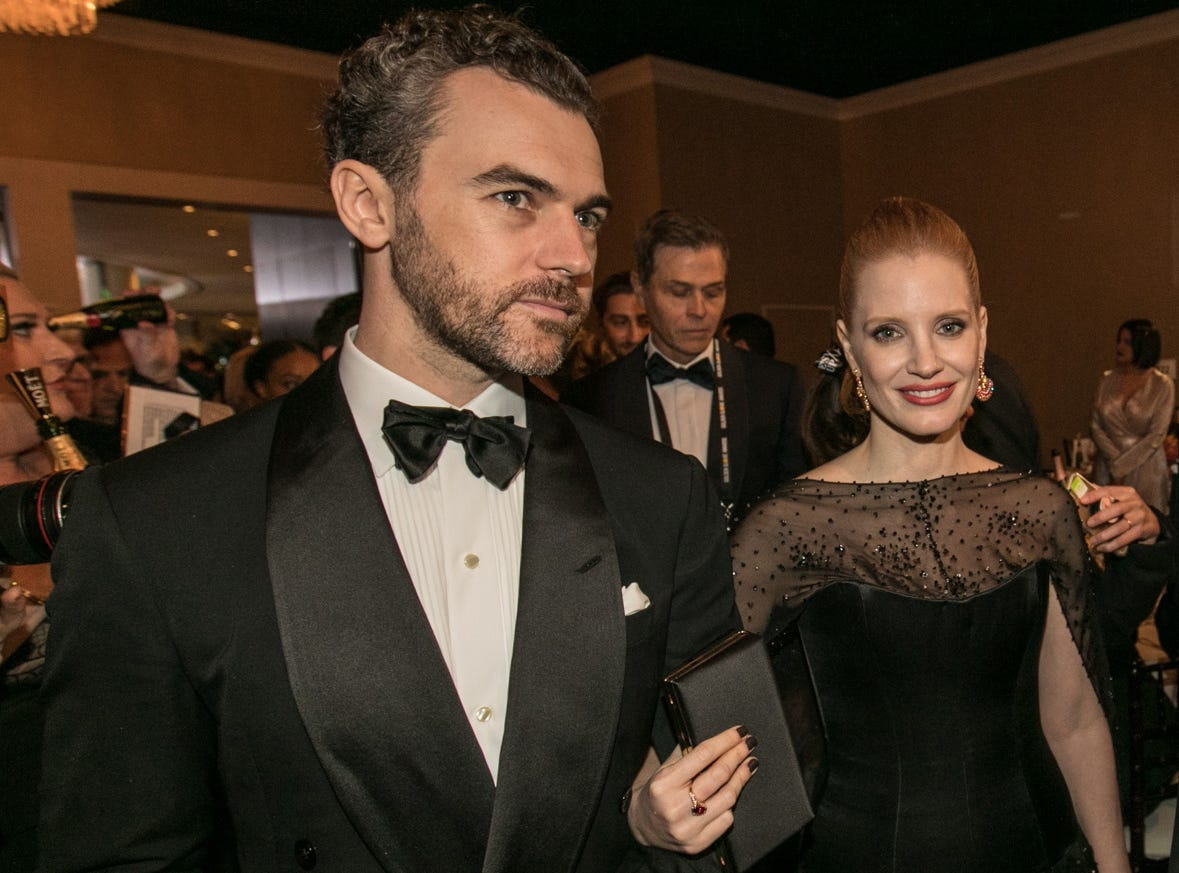 "Jessica Chastain, nominated last year for ""Molly's Game,"" arrives with husband Gian Luca Passi de Preposulo."