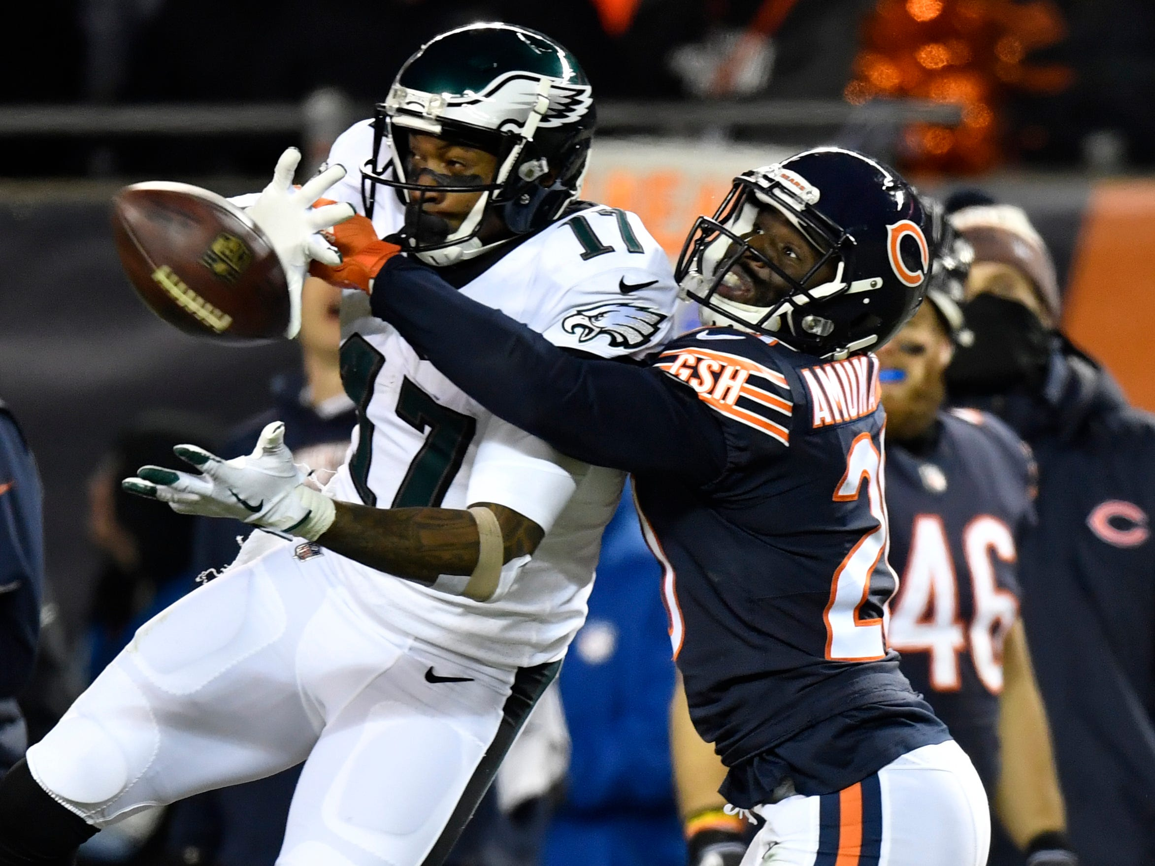 Chicago Bears cornerback Prince Amukamara breaks up a pass intended for Philadelphia Eagles wide receiver Alshon Jeffery in the wild-card game at Soldier Field.