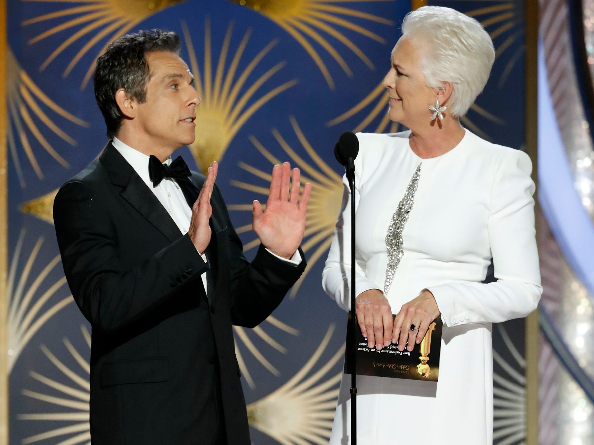 Ben Stiller and Jamie Lee Curtis speak onstage during the 76th Golden Globe Awards.