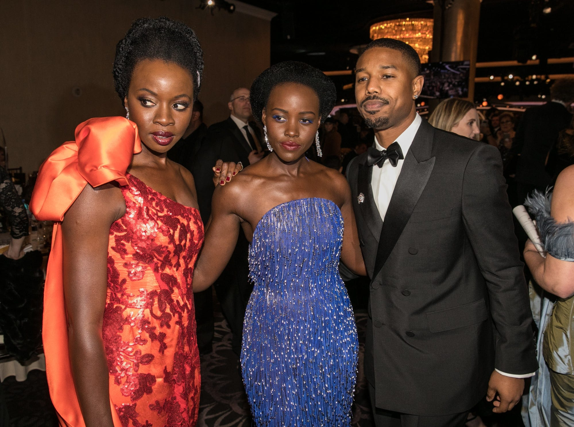 Jan 6, 2019; Beverly Hills, CA, USA; From left to right, Danai Gurira, Lupita Nyong'o and Michael B. Jordan, arrive during the 76th Golden Globe Awards in the International Ballroom at the Beverly Hilton. Mandatory Credit: David Sprague-USA TODAY (Via OlyDrop)