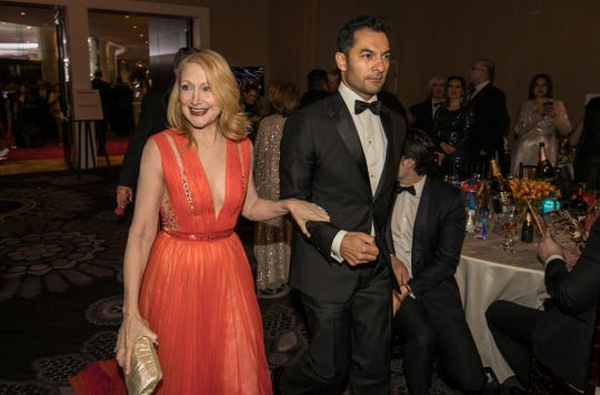 "Patricia Clarkson arrives in the ballroom at the 76th annual Golden Globe Awards. She won best supporting actress for TV's ""Sharp Objects."""