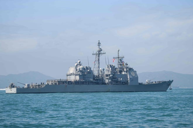 In this file photo taken on November 21, 2018, the US Navy's USS Chancellorsville, guided missile destroyer, is seen in Hong Kong.