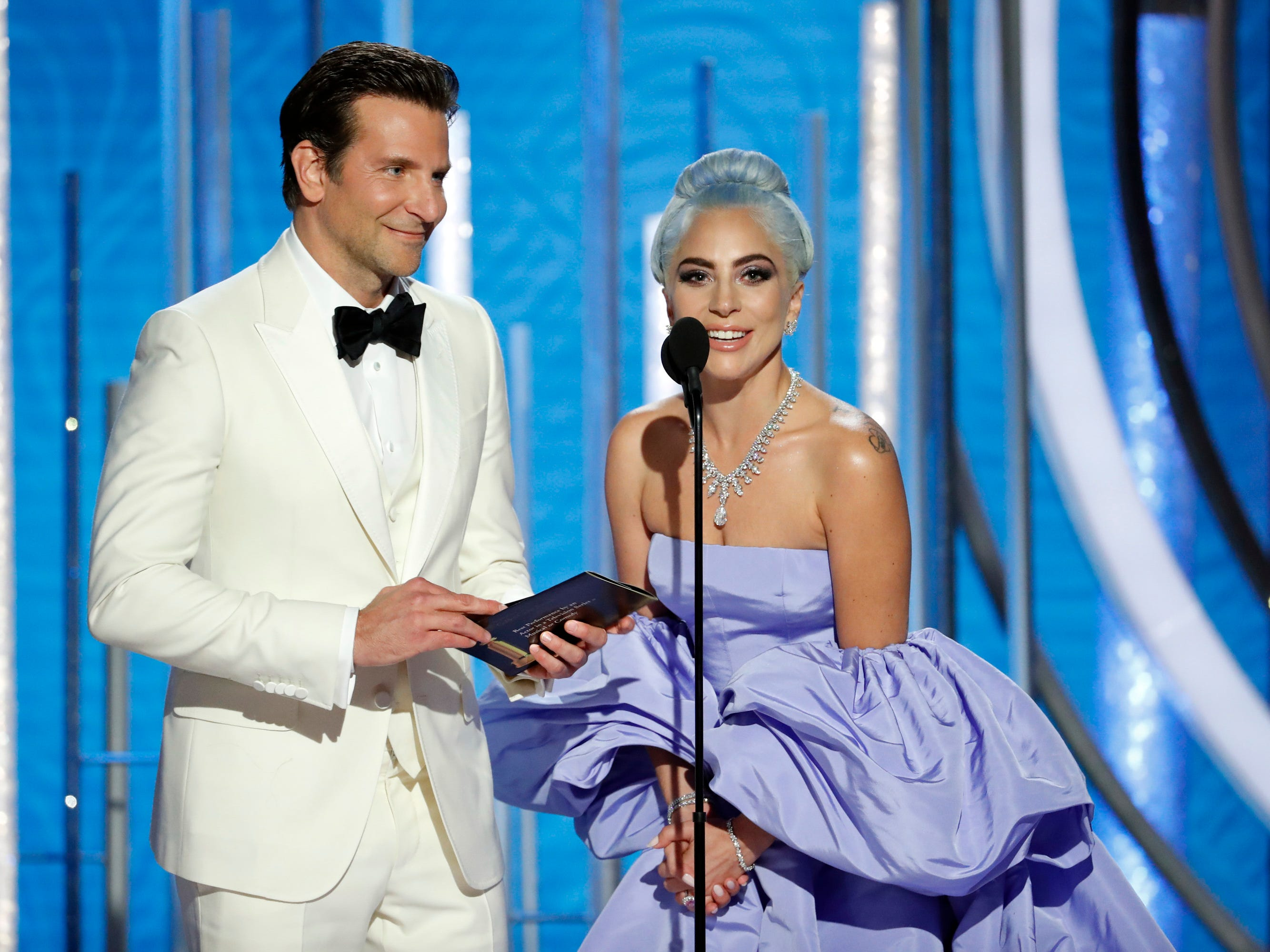 Bradley Cooper and Lady Gaga present during the 76th Golden Globe Awards.