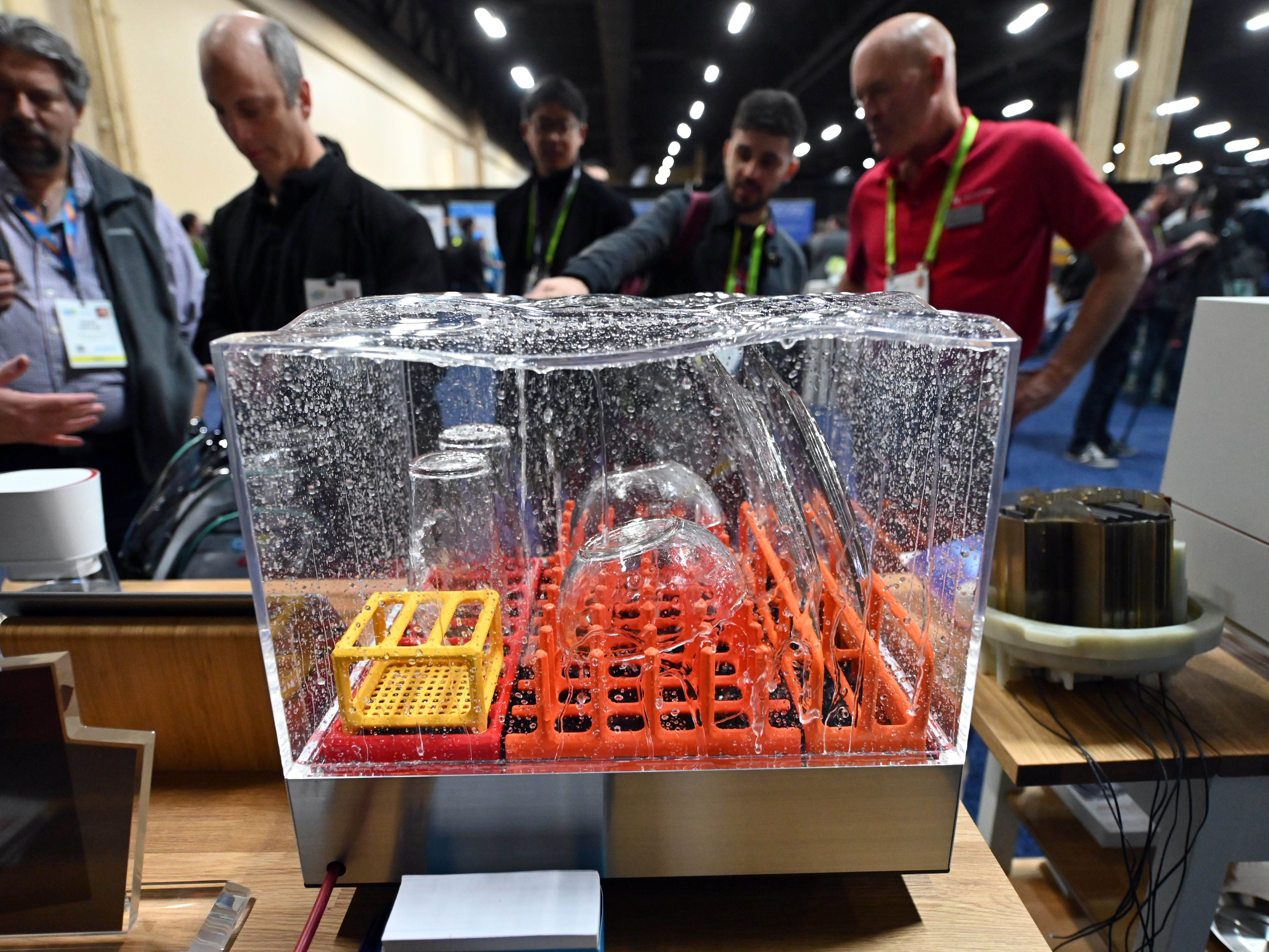January 6, 2019; Las Vegas, NV, USA;  Tetra, a compact dishwasher from Heatworks on display at CES Unveiled, a media preview event at the Mandalay Bay Convention Center. Tetra uses just a gallon of water and no plumbing is needed. Mandatory Credit: Robert Hanashiro- USA TODAY NETWORK ORIG FILE ID:  20190106_ajw_usa_978.jpg