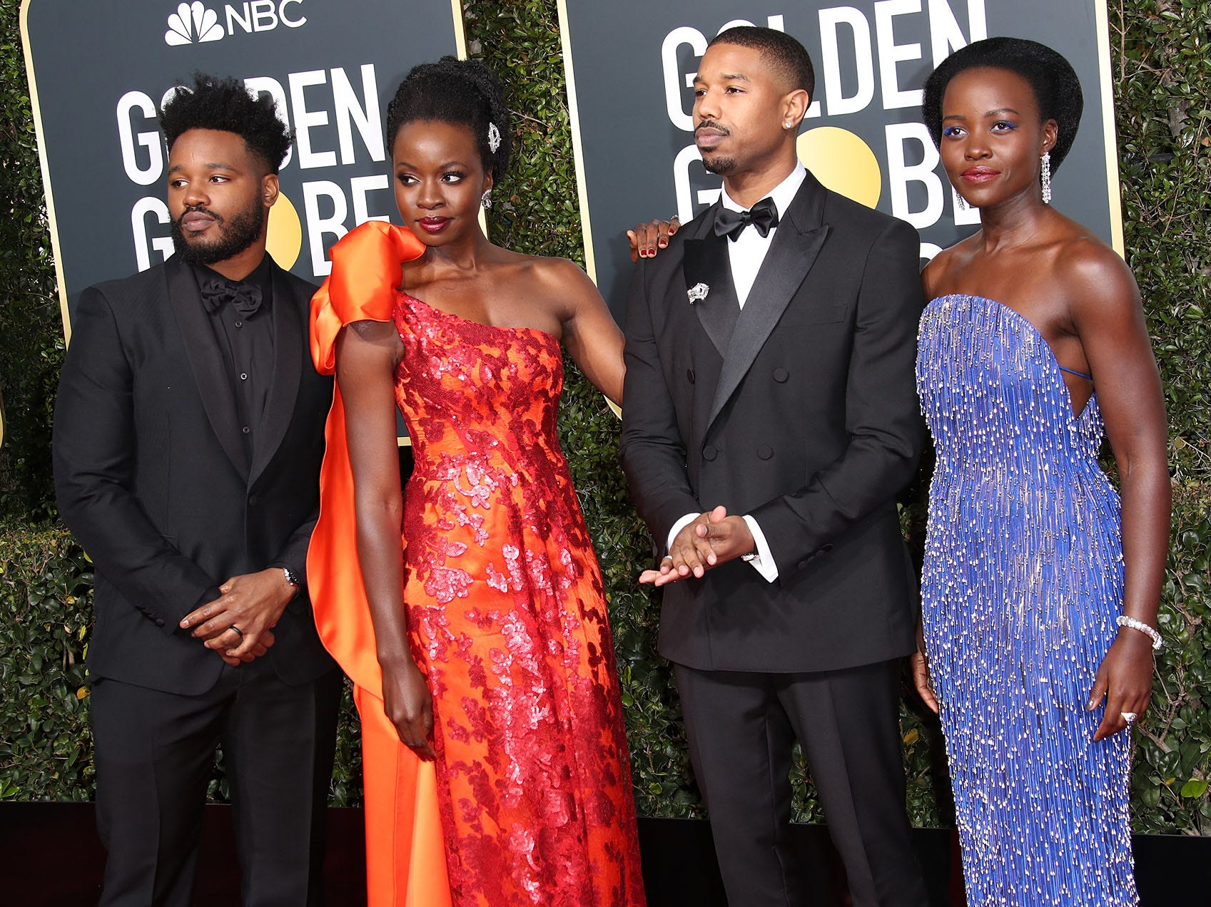 Ryan Coogler, left, Danai Gurira, Michael B. Jordan, and Lupita Nyong'o arrive at the 76th Golden Globe Awards at the Beverly Hilton.