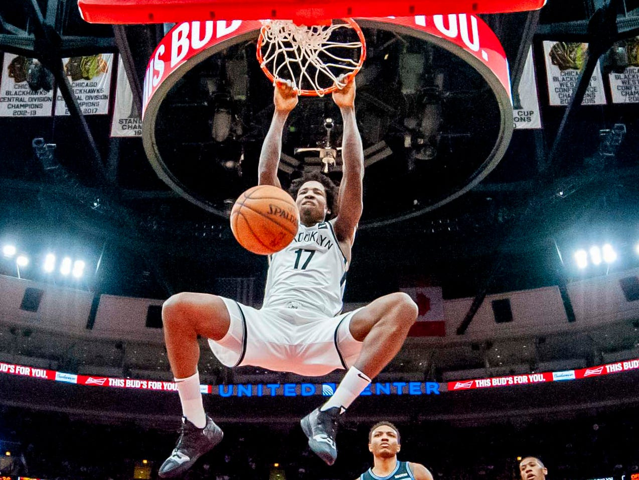 Jan. 6: Nets forward Ed Davis throws down a thunderous two-handed slam during the second half against the Bulls in Chicago.