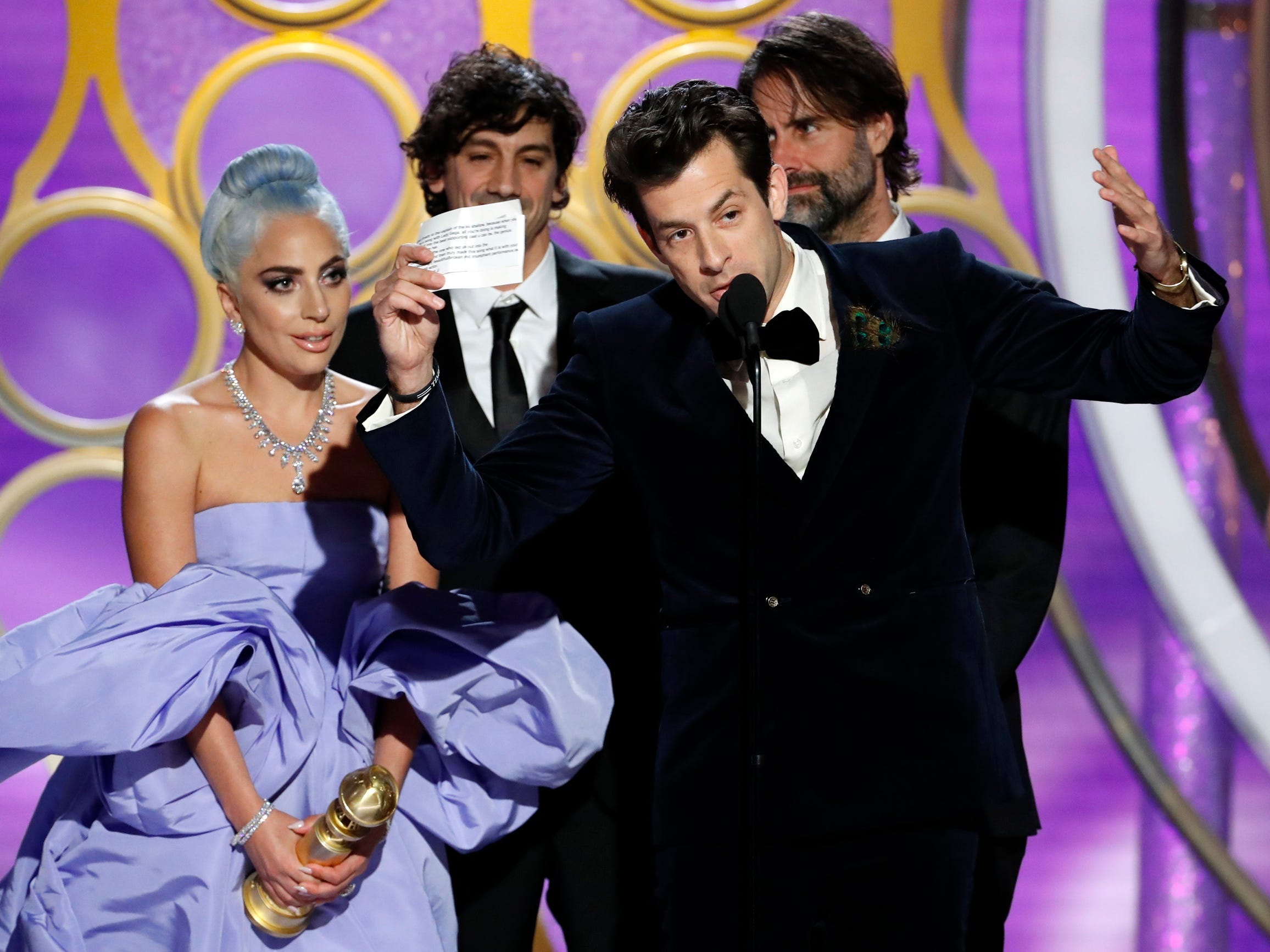 Lady Gaga and Mark Ronson, accept the Best Original Song - Motion Picture award during the 76th Golden Globe Awards.