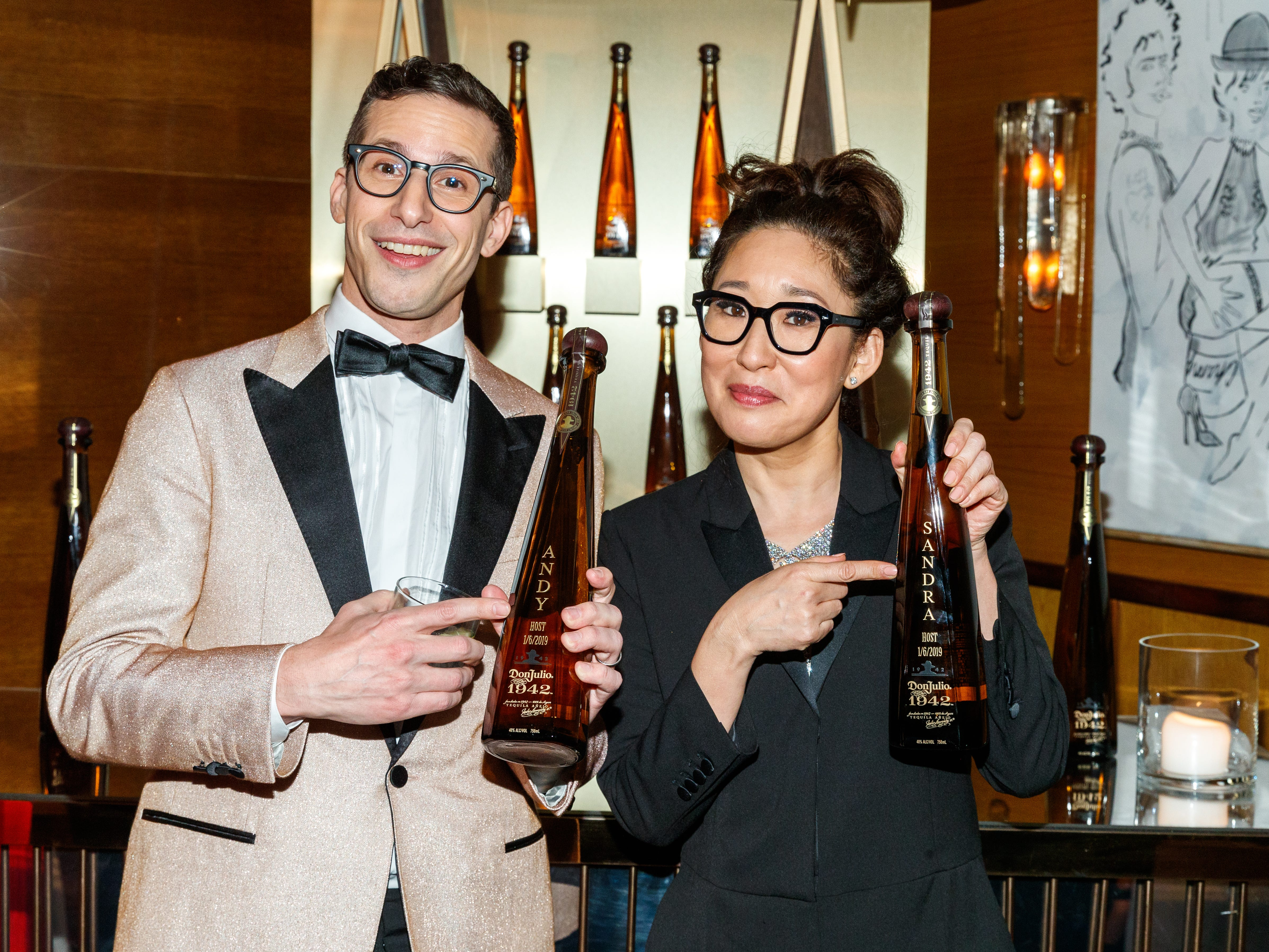 WEST HOLLYWOOD, CALIFORNIA - JANUARY 06:  Andy Samberg and Sandra Oh celebrate with Tequila Don Julio 1942 at their private Golden Globes After-Party on Sunday, January 6 2019 in West Hollywood, California. (Photo by Rich Polk/Getty Images for Tequila Don Julio 1942) ORG XMIT: 775277979 ORIG FILE ID: 1090774610