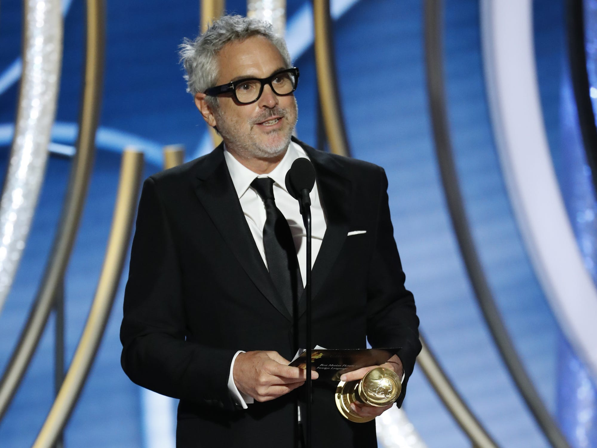 Alfonso Cuaron, accepts the award for the Best Motion Picture, Foreign Language during the 76th Golden Globe Awards.
