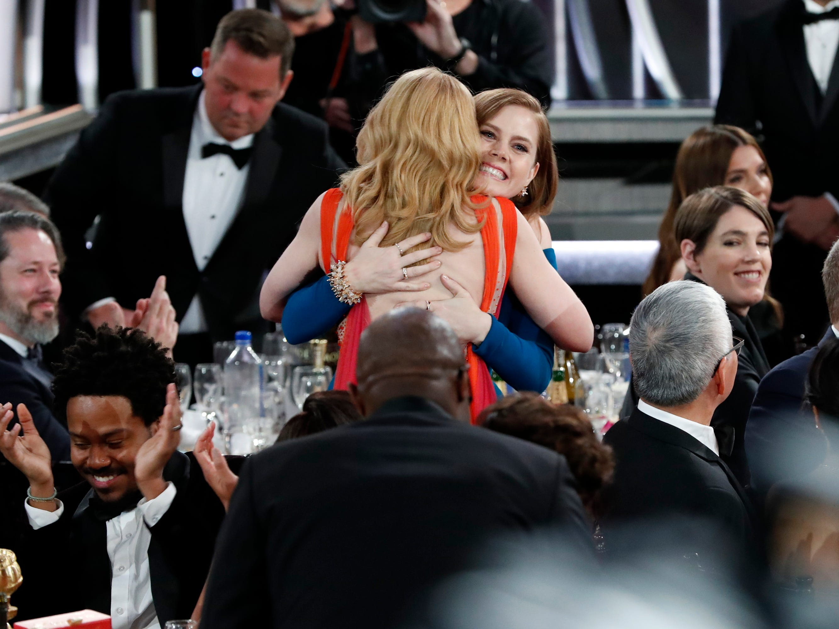 Amy Adams hugs Patricia Clarkson, the winner of Best Supporting Actress - Series/Limited Series/TV Movie during the 76th Golden Globe Awards.