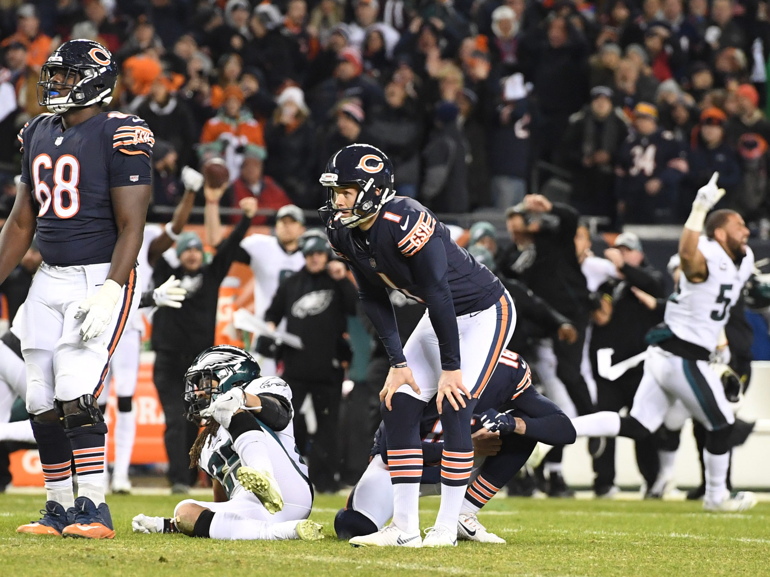 Chicago Bears kicker Cody Parkey (1) reacts after missing a field goal in the final seconds against the Philadelphia Eagles in the wild-card game at Soldier Field.