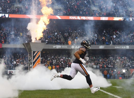 e18d9aa1229 Chicago Bears outside linebacker Khalil Mack is introduced before the  wild-card playoff game against
